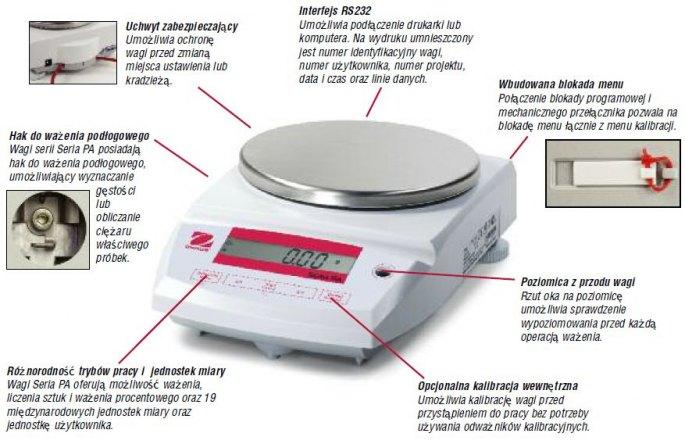 PA213CM/1 tanie wagi apteczne, techniczne i laboratoryjne Seria Ohaus Pioneer (wagi analityczne i precyzyjne), szalka ?120mm, 210g/1mg/e=10mg, kalibracja automatyczna, legalizacja