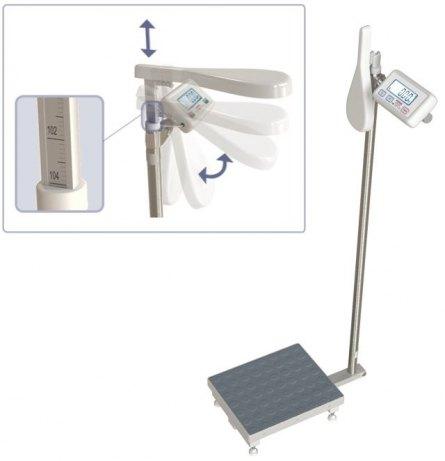 WE200P3M(X) 200kg/20g-100g szalka 25x30cm Waga osobowa ze wzrostomierzem mechanicznym i funkcją BMI (legalizacja w cenie)