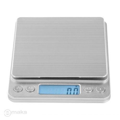 STEINBERG SBS-TW-500/10 (500g/0,01g), szalka 10x10cm, zliczanie sztuk - mała precyzyjna waga elektroniczna z tackami gratis