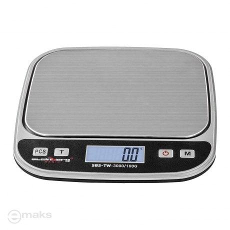 STEINBERG SBS TW-3000/100G (3kg/0,1g), szalka  13 x 9,8cm, zliczanie sztuk - mała precyzyjna waga elektroniczna